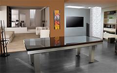 Mesa de billar de diseño Full Loft en acero inoxidable